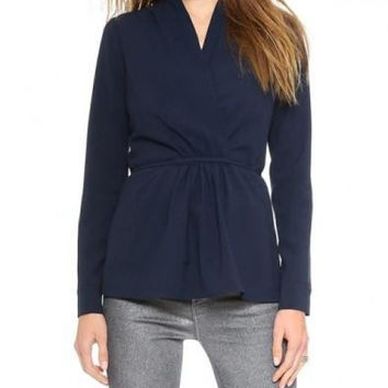 V-neckline Pleating Coat