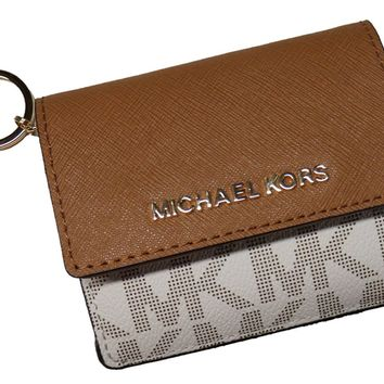 Michael Kors Jet Set Travel Card Case Wallet Vanilla/Acorn