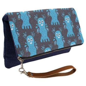 Undiscovered Blue Happy Sea Creatures Pattern Clutch