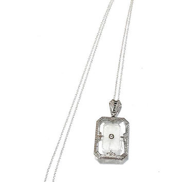 Art Deco Camphor Glass Necklace, Sterling Silver Etched, Fleur Des Lis, Antique Rock Crystal Pendant, Edwardian Necklace, Gift For Her