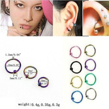 ac DCCKO2Q OYang Surgical Steel Nose Hoop Ring Ear Septum Lip Eyebrow Earrings Ball Closure Labret Body Piercing Set of 24pcs ZK30