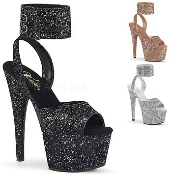 "Adore 791G Glitter 7"" High Heel Platform Shoe With Wide Ankle Cuff 5-10"