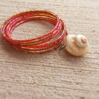 Real seashell bracelet,moon snail multilayer bracelet,boho,glas perls bracelet,ocean bracelet,memory wire,natural armlet,wrap bracelet,ivory