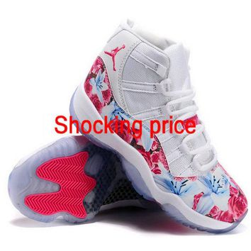 Cheapest Jordan 11 XI Floral Vivid Pink Glacier Ice White Sport Red fashion shoe