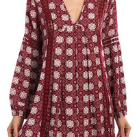 """Think Of You"" Printed Tunic With Crochet Detailing"