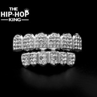 DCCK White Gold ICED OUT CZ Diamonds Teeth Top Silver Tone 3 Three Rows GRILL Set JOKER Tooth Bling Grillz