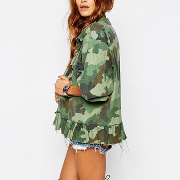 Milk It | Milk It Vintage Military Shirt With Peplum Hem In Camo at ASOS
