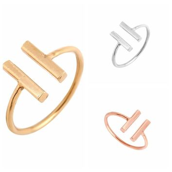 SMJEL New Simple Unique Double Bar Rings for Women Adjustable Punk Geometric Sqaure Open Rings Engagement Ring Party Gifts R115