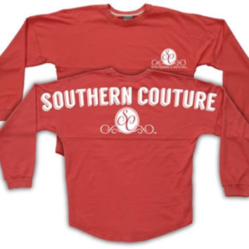 Southern Couture Logo Red Sweeper Jersey Pullover Spirit Long Sleeve T Shirt