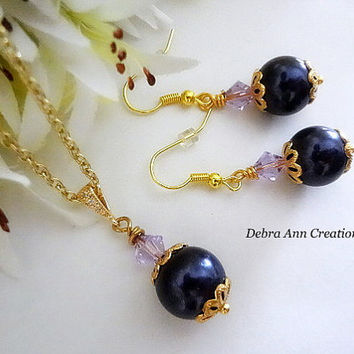 Swarovski Purple Pearl Amethyst Crystal Necklace Earring Set Fall Eggplant Purple Wedding Bridal Bridesmaid Jewelry Set Bridesmaid Necklace