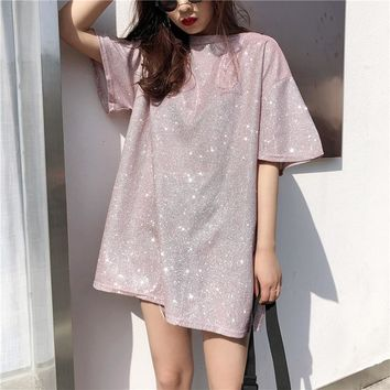 Vetemen Femme Bling T Shirts 2018 Korean Women Tshirt Fashion Summer Short Sleeve O Neck Causal Loose Solid Tees Tops Oversized