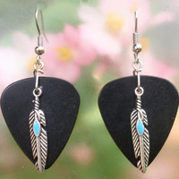 Feather Earrings, Southwest Guitar Pick Jewelry, Native American Silver Dangling, 12 Custom Colors, Pierced or Clip On Earrings