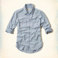 NWT Hollister Women's Classic Blue Denim Chambray Shirt Size XS Surfers Knoll