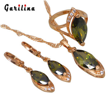 New 2016 Glam Luxe Mysterious 18K Yellow Gold Plated Peridot Pendants/Ring/Earring jewelry Sets size 6 7 8 9 10 S066
