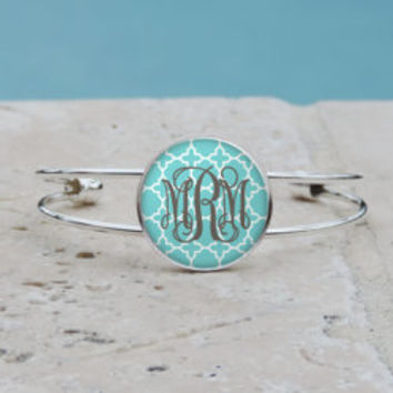 Shabby Chic Tiffany Blue Quatrefoil Monogram Pendant, Monogram Bangle, Monogram Cuff Bracelet, Monogram Jewelry, Monogram Accessories,
