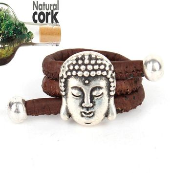 Natural cork Antique sliver Buddha head vintage women cork Ring original adjustable  handmade wooden vegan jewelry HR-021