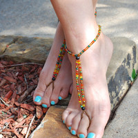 Beaded Barefoot Sandals, Beach Sandals, Footless Sandals, Beach Wedding, Bottomless Sandals, Foot Jewelry, Anklet, Accessory, Toe Ring