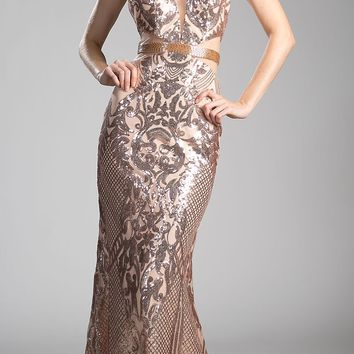 Gold High Neckline Sequins Long Prom Dress