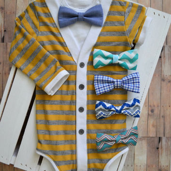 Infant Baby Cardigan and Bow Tie Set: Yellow and Gray Stripe long or short sleeve with Interchangeable Tie Shirt and Bow Tie