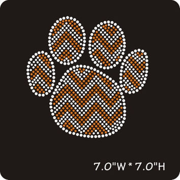 Orange chevron paw print iron on hot fix rhinestone transfers - DIY chevron paw mascot school team logo -heat - bling