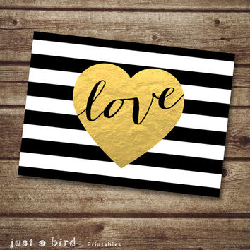 Modern valentine card 5x7 valentine printable card, black and white stripes gold heart printable, faux gold foil - INSTANT DOWNLOAD