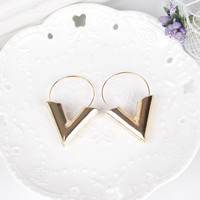 New Vintage Bohemian Gold Big V Earrings for Women Dangle Statement Earrings Brinco Long Earing Eardrops 5A4002