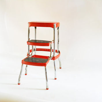 Red Cosco Kitchen Stool Red Metal Step Stool Red Folding Chair 1950s Red : metal step stool chair - islam-shia.org