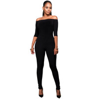 Off-Shoulder Jumpsuit with 1/2 Sleeves