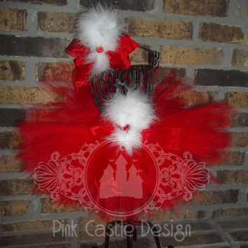 2 Piece Set of Red Tutu Skirt and Matching Headband with Maribou trim
