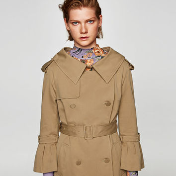TRENCH COAT WITH OVERSIZED COLLAR DETAILS