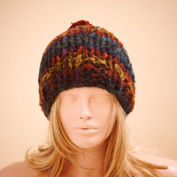 """ON SALE Hand Knitted Hat, Slouchy  Hat, Beanie with Pompom,Boho """"Chunky """", Winter Fashion, Winter Accesories"""