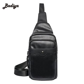 Casual Bag Adjustable Strap Cross Body Sling Men Vintage PU Leather Bag Chest Pack Multi-Layer Messenger Travel Shoulder Bag