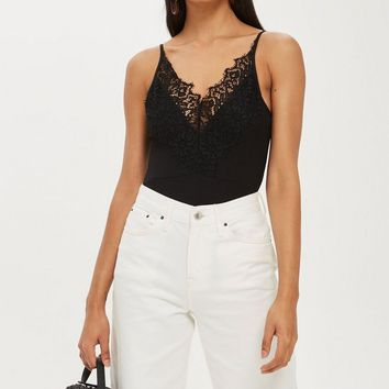 Strappy Lace Trim Bodysuit