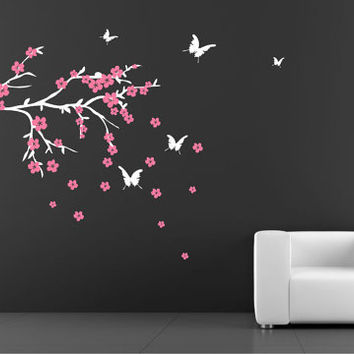 Cherry Blossom Branch with butterflies wall decal nursery Kids Vinyl Wall Sticker Decals Flower baby girl room decor butterfly decal