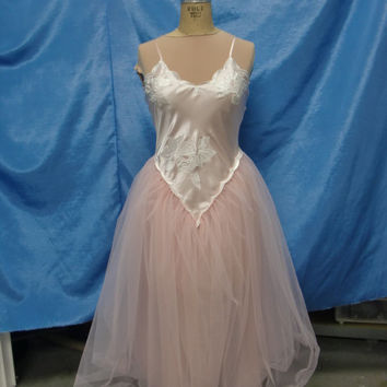 Vintage Victoria Secret Upcycled Pink Satin Camisole Prom Dress