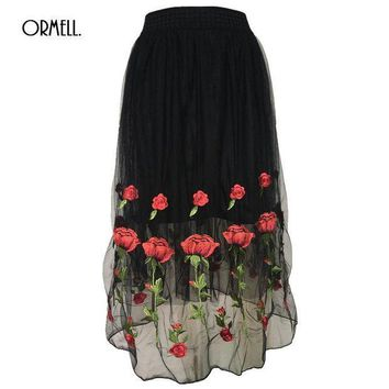 CREYIJ6 ORMELL Women Elegant Rose Embroidery Tulle Skirt Ladies Girls Summer Fashion Retro Floral High Waist Pleated Black White Skirts