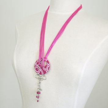 Hole Pink Necklace, Adjustable Strand Lariat Pendant, OOAK