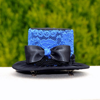 Royal Blue Mini Top Hat, Black Top Hat. Mad Hatter Hat, Royal Blue Hat. Black Hat Kentucky Derby Hat, British Tea Party Hat ,Ascot derby hat
