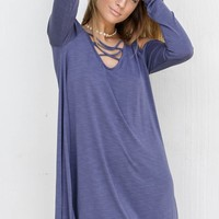 The Love In The World Purple Gray Cold Shoulder Dress