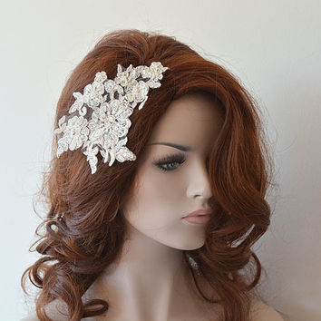 Ivory  Lace Wedding Headband, Silver Silvery Lace Bridal Hair Comb, Wedding Headband, Bridal Hair Accessory, Wedding Hair Accessories