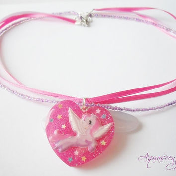 My little pony necklace, resin charm pendant, ribbon necklace, kawaii charm necklace, pink poney pendant, gift for girls, birthday gift