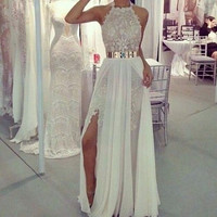 High Neck Prom Dresses,White Slit Prom Dress