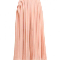 Pink Plus Size Pleated Midi Skirt