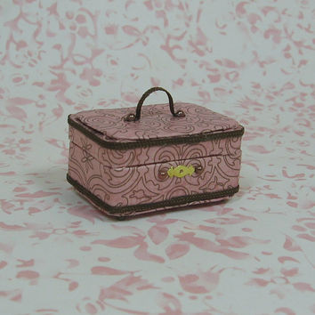 Dollhouse Miniature Pink & Brown Train/Travel Case