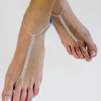 Bridal Barefoot Beach Sandals in White