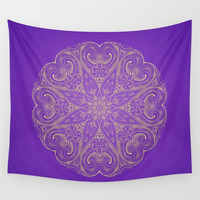 Wall Tapestry Mandala Pattern Purple Yellow  Boho Bohemian India Indian Moroccan  Dorm Room Home Bedroom Decor