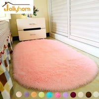 Lovely Ellipse Shape Pink Area Rug Bedroom Living Room Long Hair Shaggy Soft Carpet Popular Non-slip Baby Mat (1pc) 12Colors