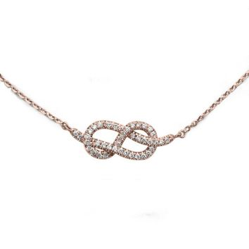 Small Infinity Necklace, Diamond Pendant Necklace, Rose Gold Necklace, Infinity Knot Necklace, Gold Pendant, Delicate Necklace.