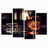 VVOVV Wall Decor - Brown Whisky In Cups With Ice Canvas Wall Art Print Wine Painting Framed Pictures Smoking Cigar Ashtray Poster Giclee Artwork Wall Decor Kitchen Bar