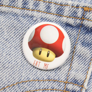 Super Mushroom 1.25 Inch Pin Back Button Badge